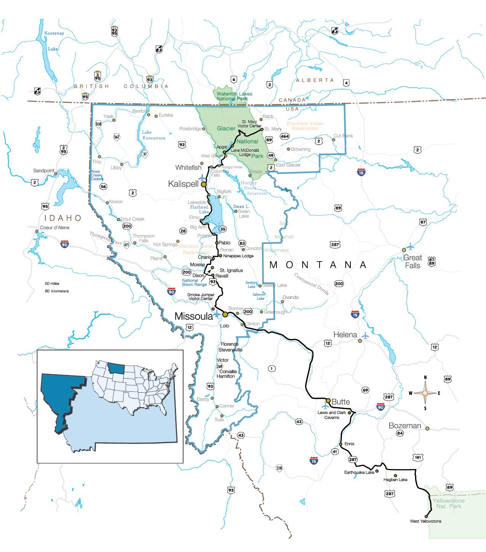Yellowstone To Glacier National Park Glacier Country Montana - Yellowstone-map-us
